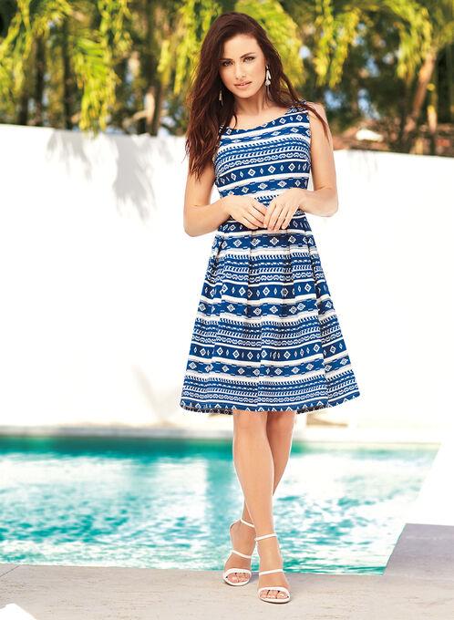 Geometric Print Pique Knit Dress, Blue, hi-res