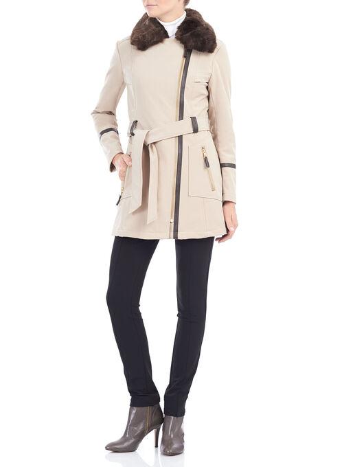 Softshell Belted Jacket , Off White, hi-res