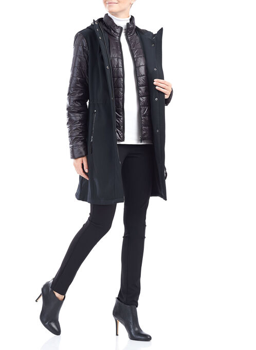 Softshell Quilted Sleeve Jacket , Black, hi-res