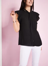 Sleeveless Tie Front Blouse, , hi-res