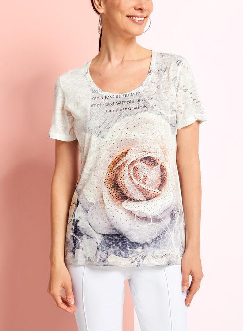 V-Neck Floral Print T-Shirt, Grey, hi-res