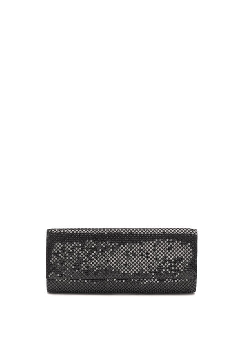 Rectangular Metallic Clutch, Black, hi-res