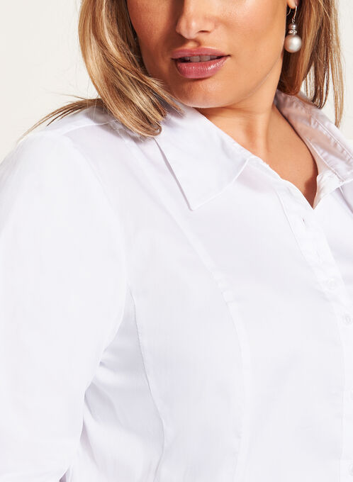 Long Sleeve Button Down Cotton Shirt, White, hi-res