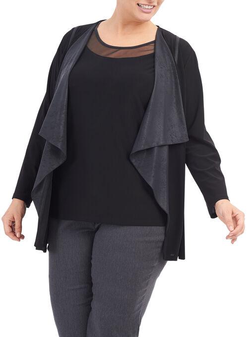 Knit & Faux Leather Cardigan, Black, hi-res