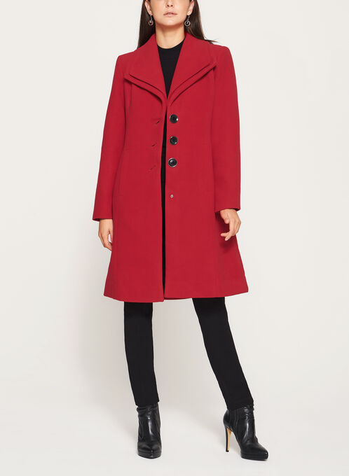 Wool Like Double Collar Coat, Red, hi-res