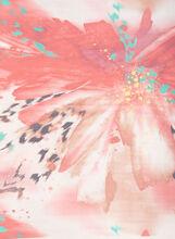 Silk-Like Flower Print Scarf, Red, hi-res