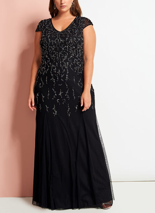 Frank Lyman - Sequin & Tulle Evening Dress, Black, hi-res