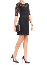 3/4 Sleeve Lace Dress, Black, hi-res