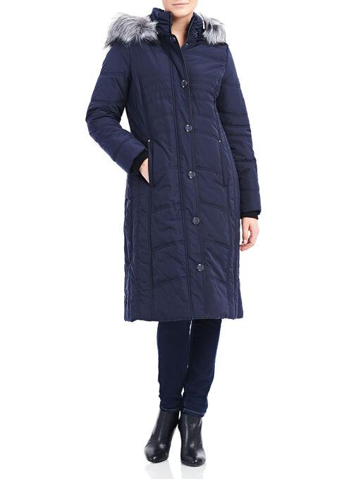 Novelti Faux Fur Thinsulate™ Coat , Blue, hi-res