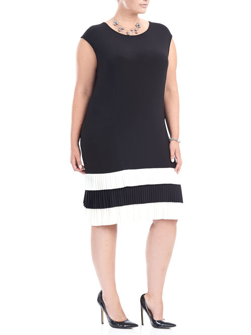 Tiered Flapper Bottom Dress , Black, hi-res