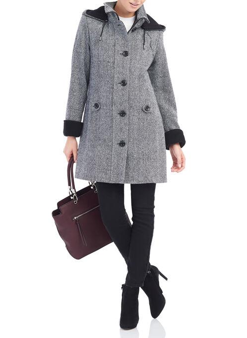 Wool Blend Tweed Coat , Black, hi-res