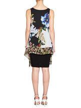 Floral Print Chiffon Popover Dress, Black, hi-res