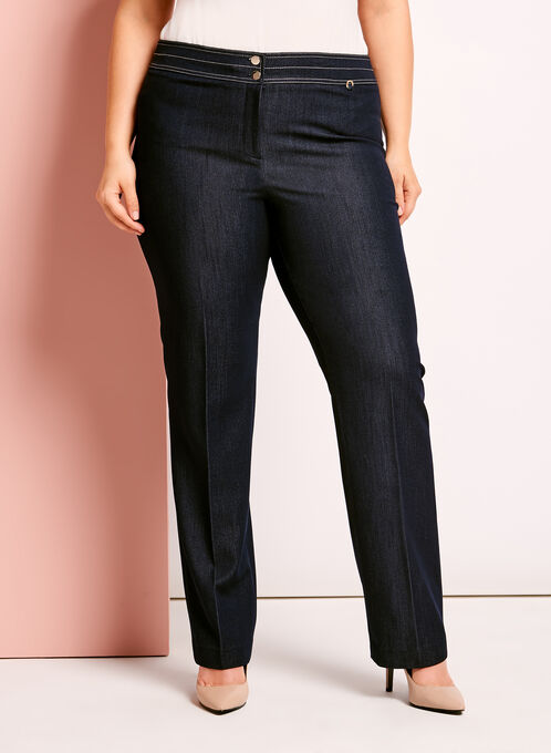 Straight Leg Modern Fit Pants, Blue, hi-res