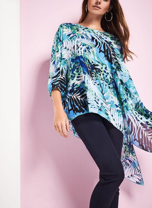 Asymmetric Printed Poncho Blouse, Blue, hi-res