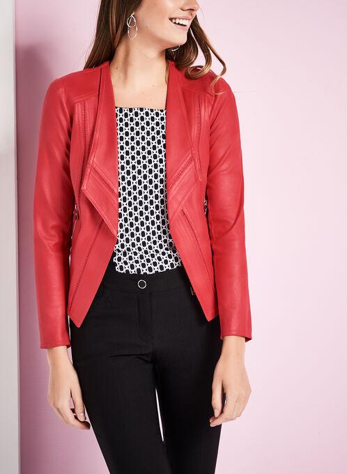 Vex Faux Suede Jacket, Red, hi-res