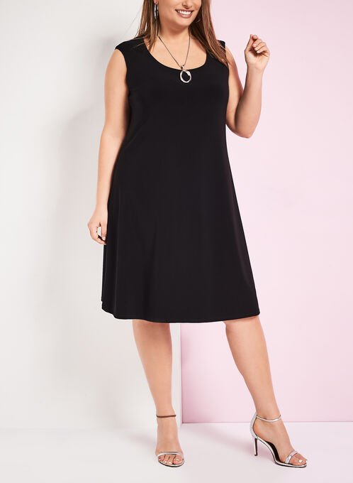 Scoop Neck Trapeze Dress, Black, hi-res