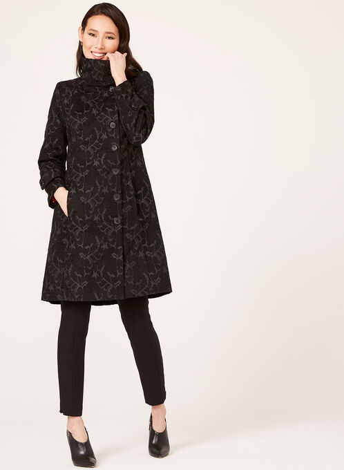 Vine Print Tapestry Coat , Black, hi-res