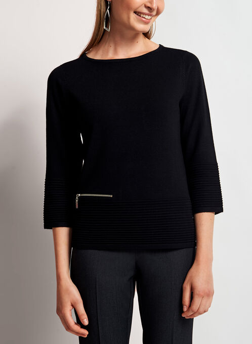 3/4 Sleeve Boat Neck Sweater, Black, hi-res