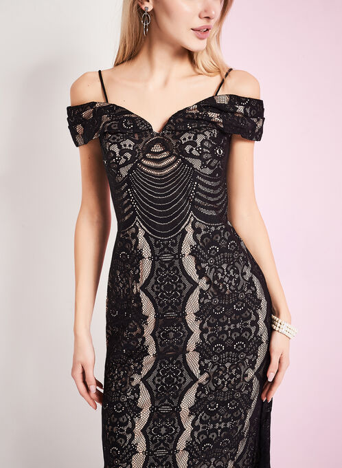 Lace Off Shoulder Gown , Black, hi-res