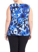 Sleeveless Printed Zipper Trim Top, Blue, hi-res