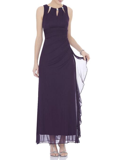 Sleeveless Rhinestone Trim Gown, Purple, hi-res