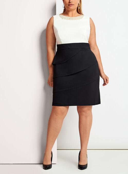Pearl Trim Tiered Contrast Dress, Black, hi-res