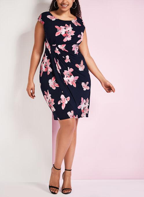 Jersey Floral Print Dress, Orange, hi-res