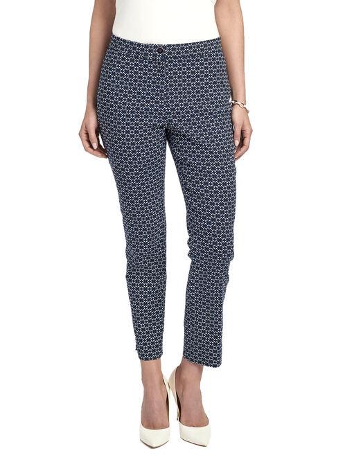 Printed Slim Leg Capri Pants, Blue, hi-res