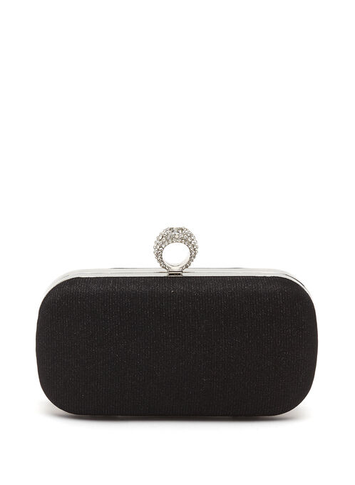 Crystal Ring Embellished Box Clutch, Black, hi-res