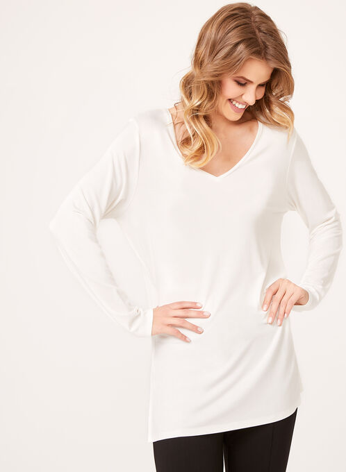 V-Neck Long Sleeve Top, Off White, hi-res