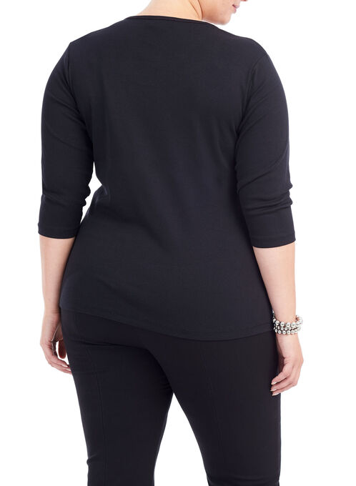 3/4 Sleeve Lace Patchwork Top, Black, hi-res