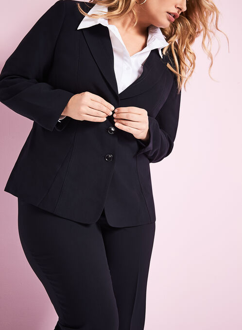 Notch Collar Button Down Blazer, Blue, hi-res