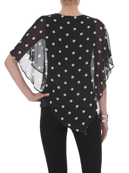 Polka Dot Print Cape Blouse, Black, hi-res
