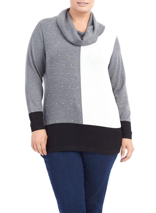 Cowl Neck Printed Knit Top, Grey, hi-res