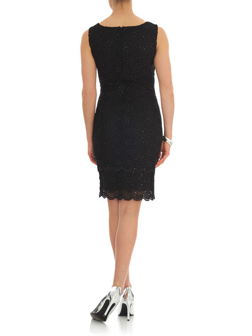 Scalloped Trim Sequined Lace Dress, Black, hi-res