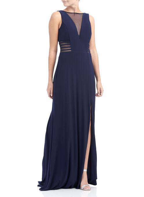 Jersey Mesh Inset Dress, Blue, hi-res