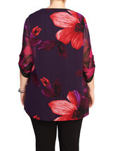 Floral Print Asymmetric Tunic Blouse, Purple, hi-res