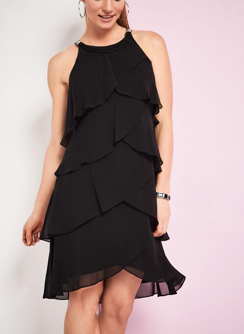 Rhinestone Detail Tiered Dress, Black, hi-res