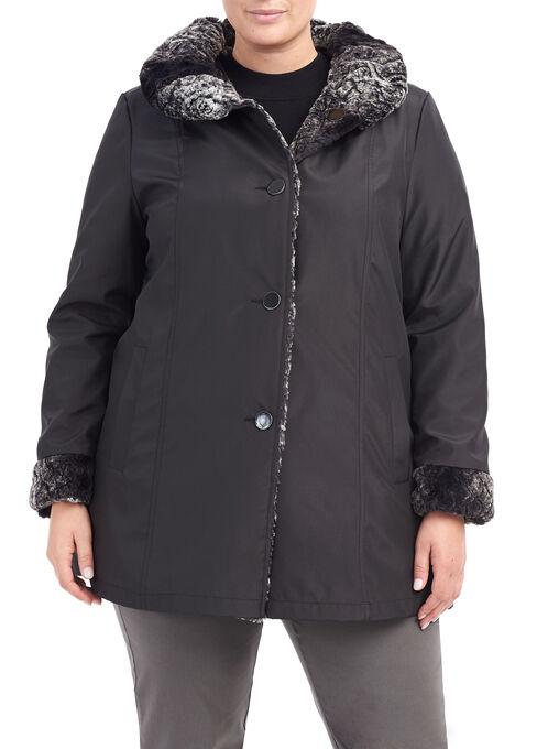 Reversible Faux Fur Jacket, Black, hi-res