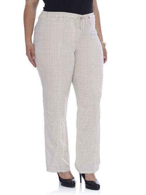 Linen Wide Leg Pants, Off White, hi-res