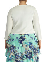 3/4 Sleeve Open Front Cardigan, Off White, hi-res