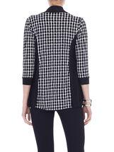 3/4 Sleeve Printed Fooler Top, Black, hi-res