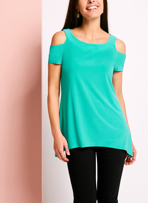 Cold Shoulder Scoop Neck Jersey Tunic, Blue, hi-res