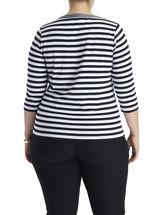 3/4 Sleeve Stripe Print T-Shirt, Black, hi-res