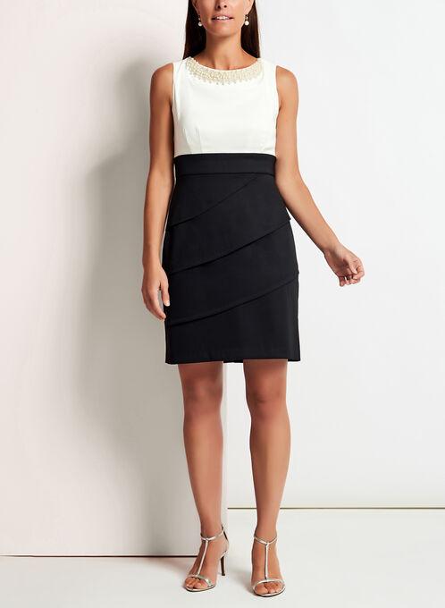 Pearl Trim Tiered Contrast Dress