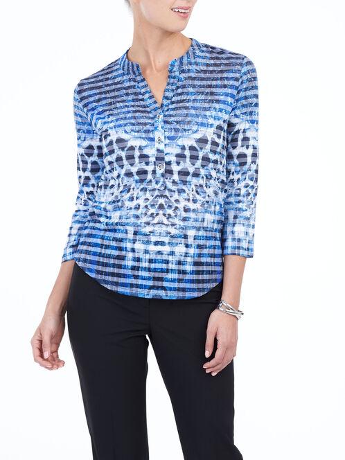 3/4 Sleeve Printed Henley Top, Blue, hi-res