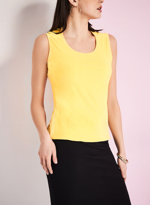 Sleeveless Jersey Tank Top, Yellow, hi-res