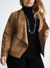 Long Sleeve Flowy Blazer , Brown, hi-res