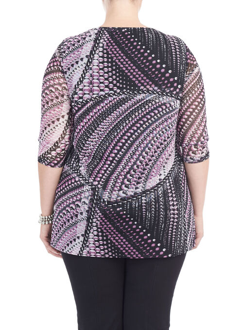 3/4 Sleeve Chiffon Overlay Top, Purple, hi-res