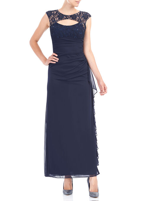 Long Sequined Lace Dress, Blue, hi-res